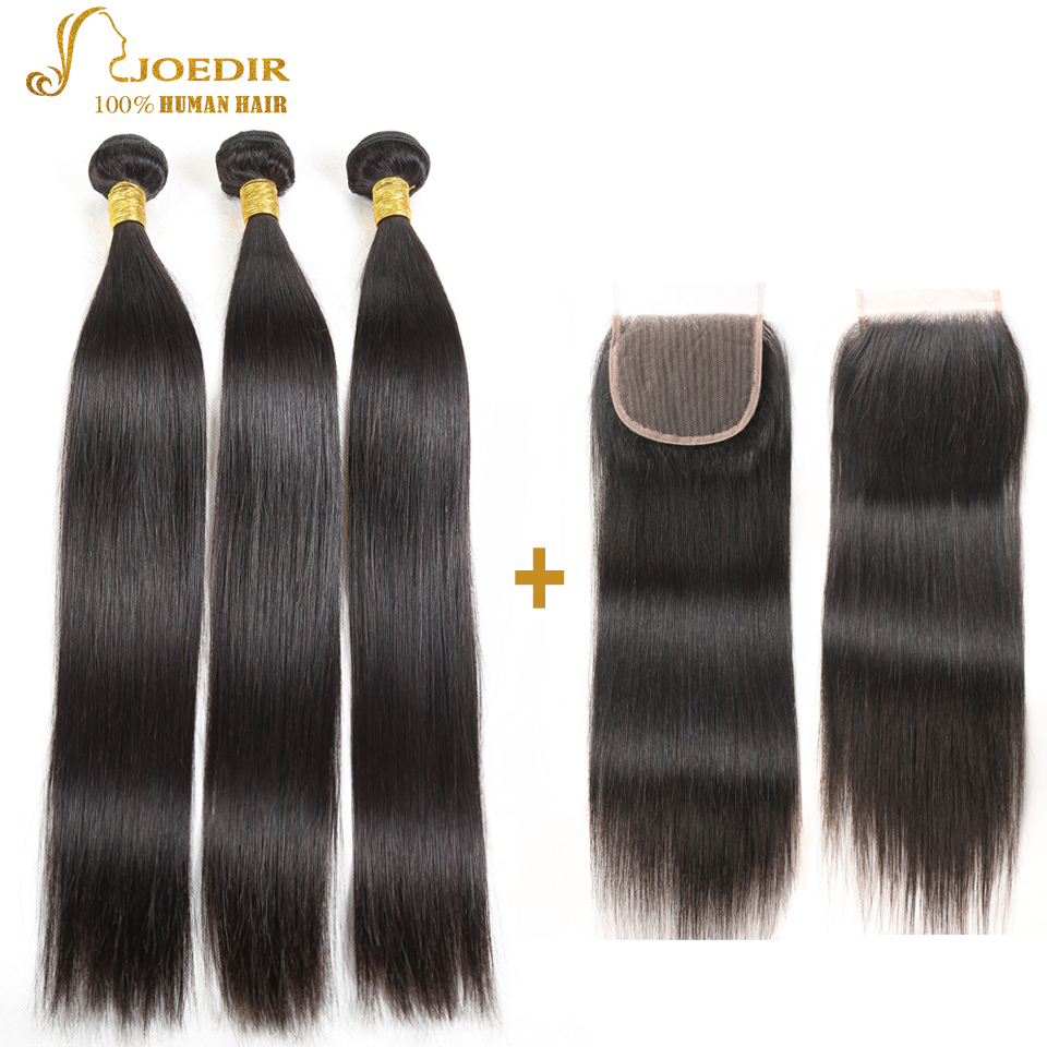 Joedir Brazilian Straight Hair Bundles With Closure 3 Bundle Deals 4 - Skönhet och hälsa - Foto 1