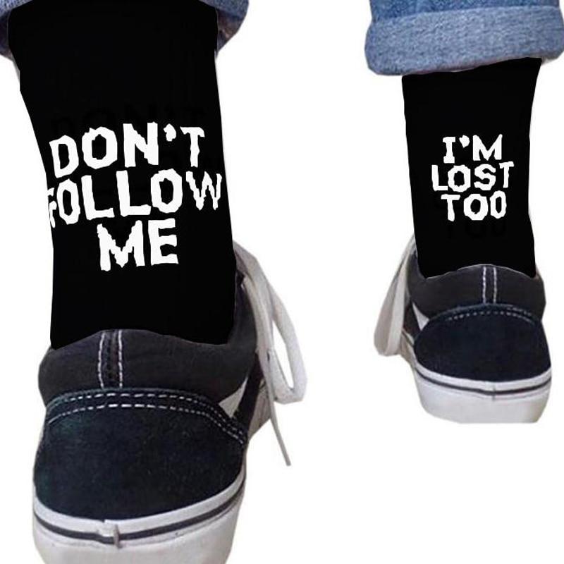 Crew   Socks   for Women Black White Funny Letters Don't FOLLOW ME Casual   Socks   I AM LOST TOO Hip Hop Streetwear Skateboard Harajuku