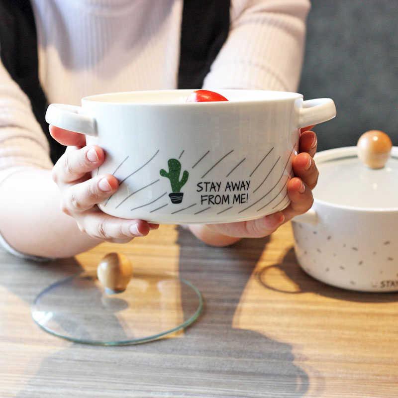 漫画サボテンクリエイティブセラミックボウルダブル耳抗火傷スープボウル韓国スタイル大容量麺ボウル