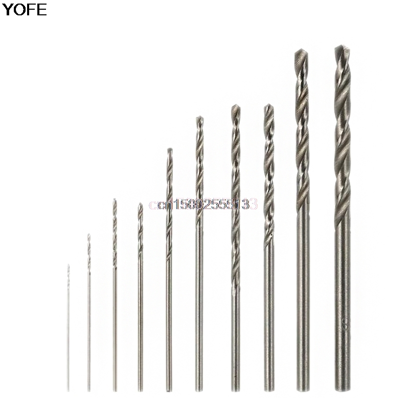10Pcs Mini High Speed White Steel Twist HSS Drill Bit Set For Dremel Rotary Tool yalku twist drill bit set power tool set twist drill bits tool kit hss twist drill bit set metal repair tools high speed steel