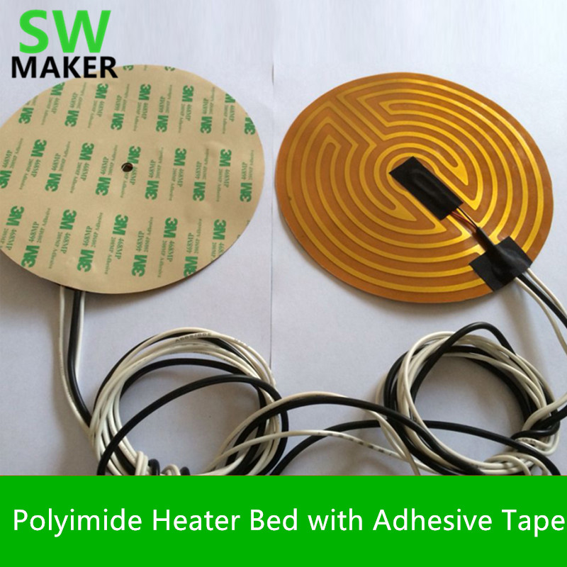 SWMAKER 12v / <font><b>24V</b></font> 160/180/190/220/240/260/300/500mm diameter round polyimide Heater bed heater with adhesive tape for 3D Printer image