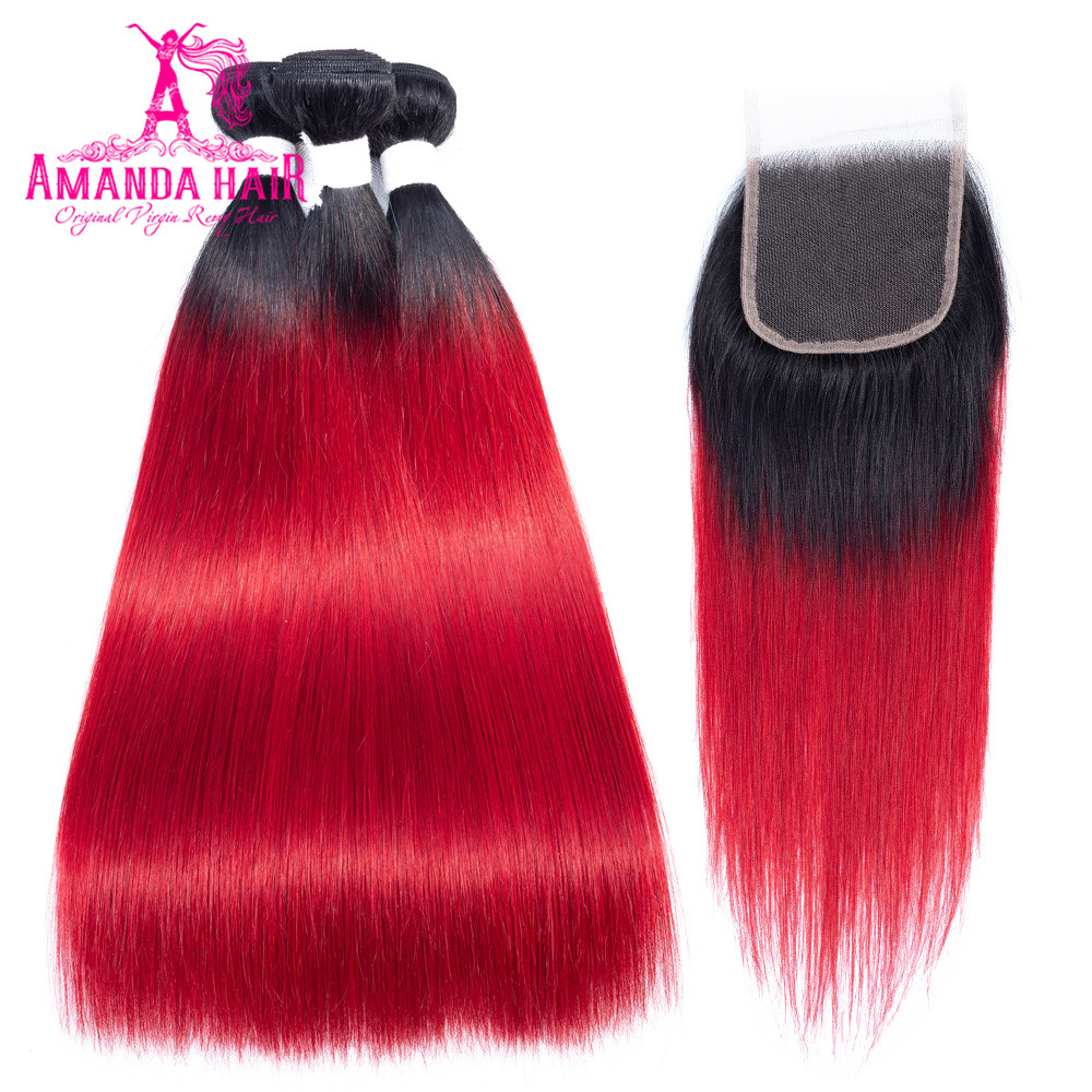 Amanda Peruvian Straight Hair 3 Bundles With Closure Color T1b/red 150% Density 4x4 Lace Closure With Bundles Human Remy Hair