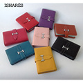 ISHARES 2016 New Fashion Genuine Leather Card Holder Expandable Credit Card&id Holder Unisex Simple Design Solid 6 Colors IS6035