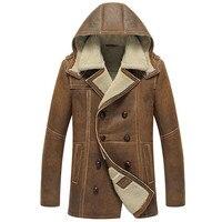 Денни и Дора мужские дубленки с капюшоном B3 Пальто Длинные Куртка Regular Fit B2 военные Стиль овчины кожаная куртка
