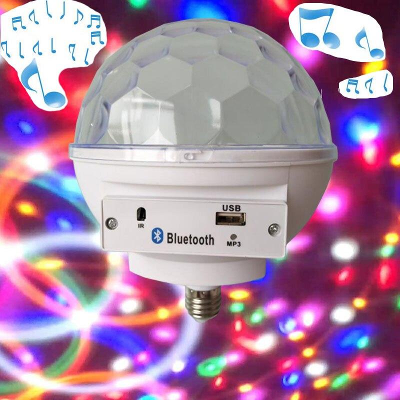 лучшая цена E27 Base RGB LED Lamp with Sound Box Bluetooth Musical Speaker Magic Ball Led Music Bulb luminaria 6 Color Flash Light