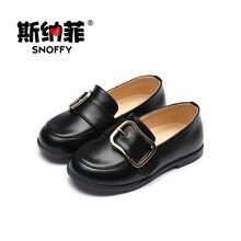 4e079a4eaca24 Filles Chaussures Véritable Glissement de Cuir Sur Enfants Filles Robe  Chaussures Noir Plat Danse Chaussures Pour Large Pied TX1.