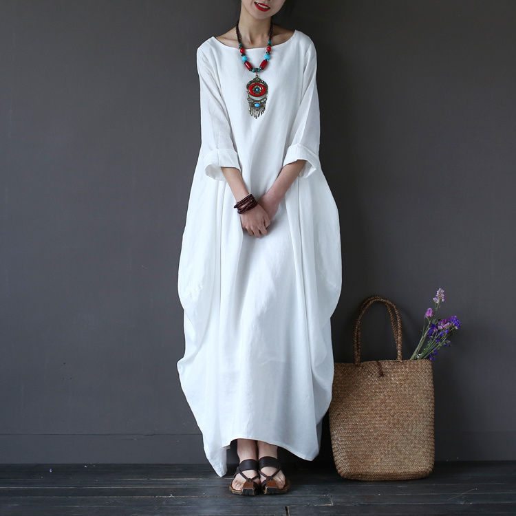 Solid Red Blue White Linen Women Long Dress Plus Size Loose Casual