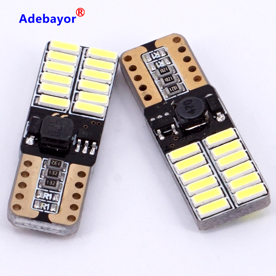 hot sale new 2 XCar Auto LED T10 194 W5W Canbus 24 SMD 4014 LED Light Bulb No error led parking car styling Fog lamps