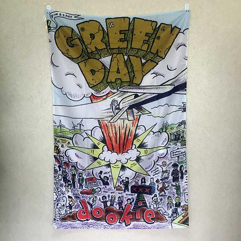 Зеленый день панк рок группа Висячие Искусство водонепроницаемый холст из полиэстеровой ткани 56X36 дюймов гирлянда из флажков Бар Кафе Отель Декор