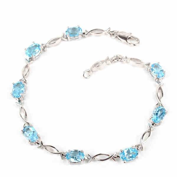 High Quality Real 925 Sterling Silver Simple Elegant November Birthday Stones Blue Stone Woman Bracelets Fashion Jewelry