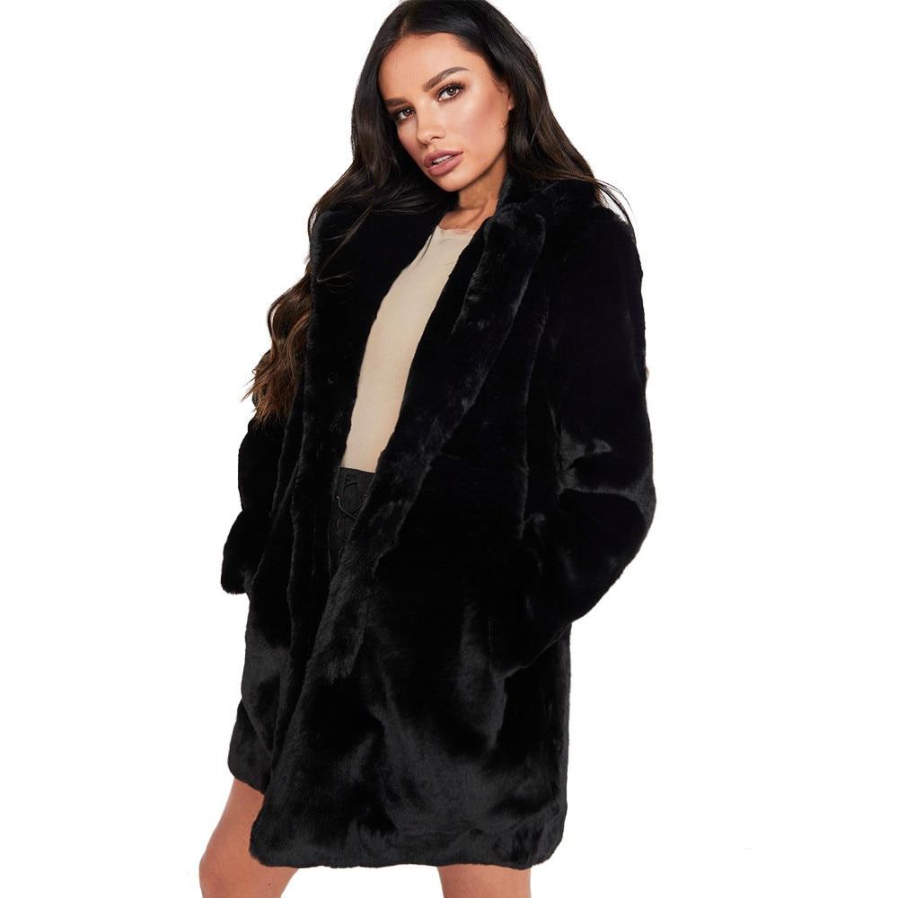 462521e943811 S-3XL abrigos de visón 2018 mujeres invierno nueva moda abrigo de piel  sintética elegante