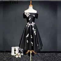 JaneVini Чёрный чай Длина Bridemaid платья длинные халаты Дубай свадебное платье Вечерние Для женщин Цветы босоножки назад Лодка шеи выпускного пла