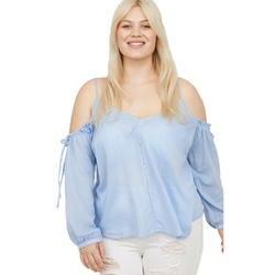 Плюс Размеры с открытыми плечами в полоску блузка с треугольным вырезом Для женщин Новое поступление одной кнопки Фонари рукавом