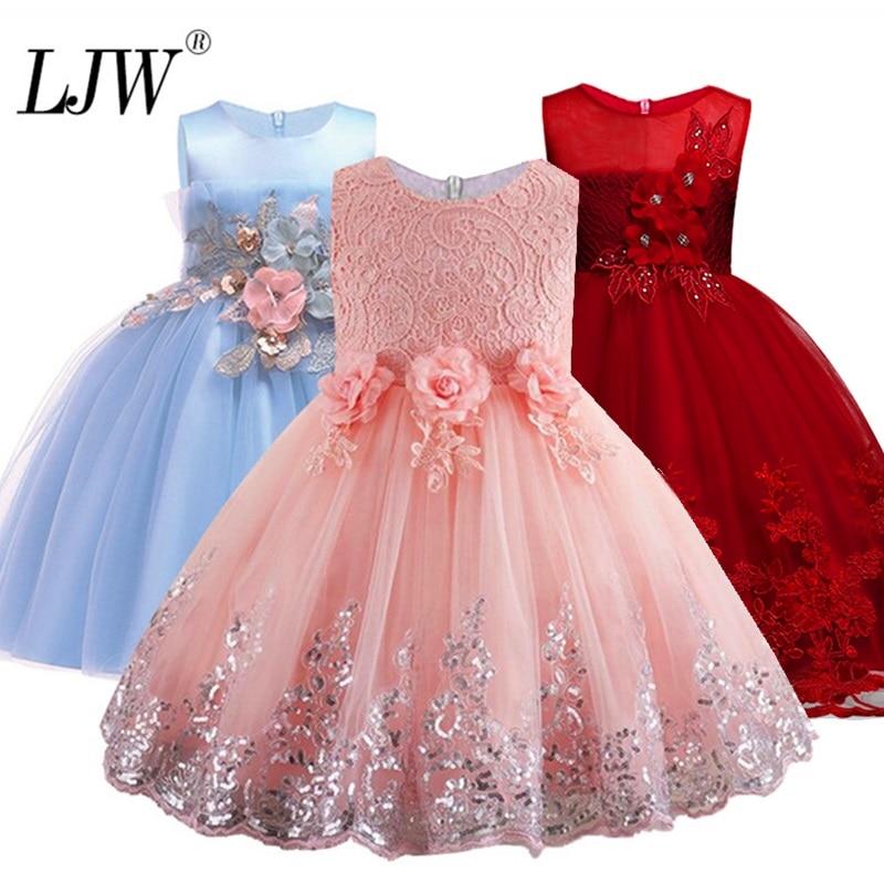 aa6d1fcba7e 2019 dentelle paillettes formelle soirée robe de mariée Tutu princesse robe  fleur filles enfants vêtements enfants