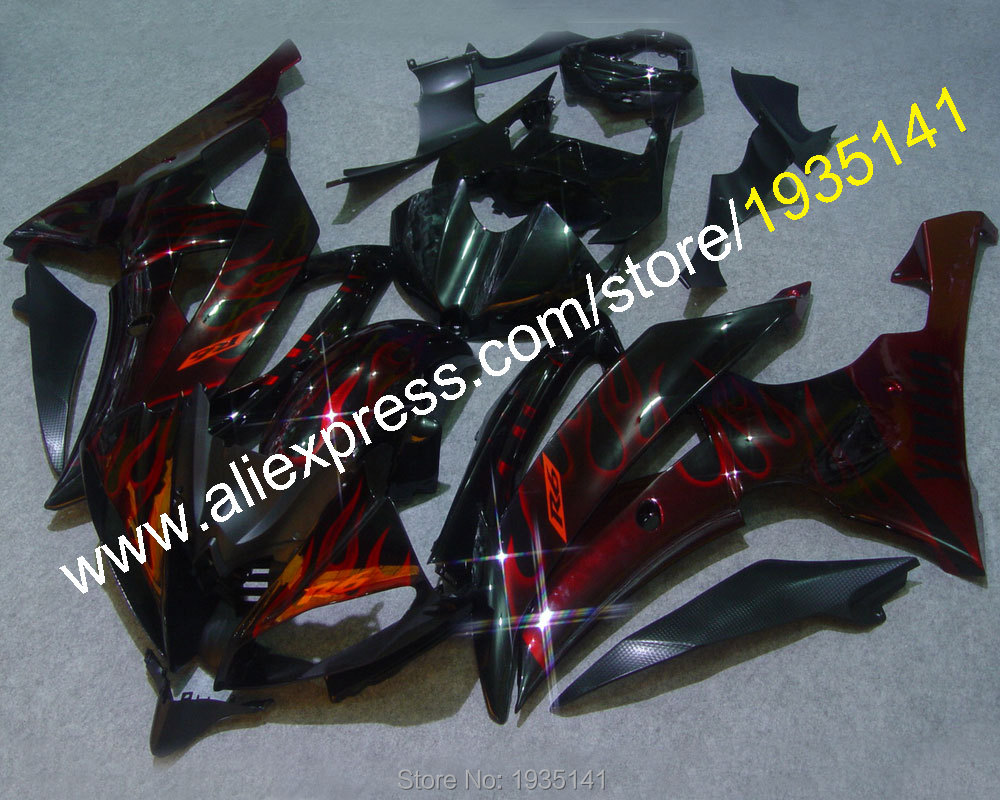 Hot Sales,For Yamaha YZF R6 red flame black body YZF-R6 2008-2016 ABS fairing YZFR6 08 09 10 11 12 13 15 16 (Injection molding) hot sales yzf600 r6 08 14 set for yamaha r6 fairing kit 2008 2014 red and white bodywork fairings injection molding
