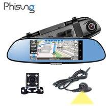 3 Canales de Cámaras Vista Android Navegación GPS dash cam coche espejo dvr cámara RAM 1 GB ROM 16 GB WIFI Blutooth FM Phisung R08