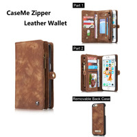 CaseMe Multifunction Leather Case For iphone 6 6s 6Plus 6sPlus Card Slots With Zipper Wallet Flip Mobile Phone Case Back Cover