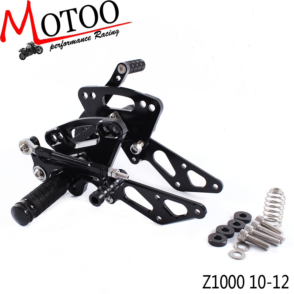 Full CNC Aluminum Motorcycle Adjustable Footrest Pedal Rearsets Rear Sets Foot Pegs For KAWASAKI Z1000 Z 1000 NON-ABS 2010-2012
