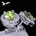 925 silver natural olivine stud earrings Korea mosaic earrings female crystal allergy wholesale Earrings for women