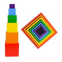 Multicolor Baby Toy Brick Rainbow Square Box Interest Building Blocks DIY 6 Colors Wooden Child Educational Building Blocks