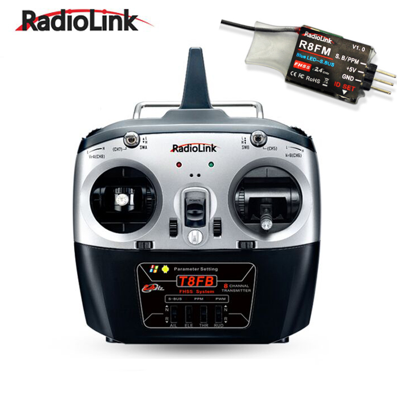 RadioLink T8FB Remote Rontroller with R8EF Receiver 2.4GHz 8ch Transmitter Control for RC Helicopter DIY RC Quadcopter Plane