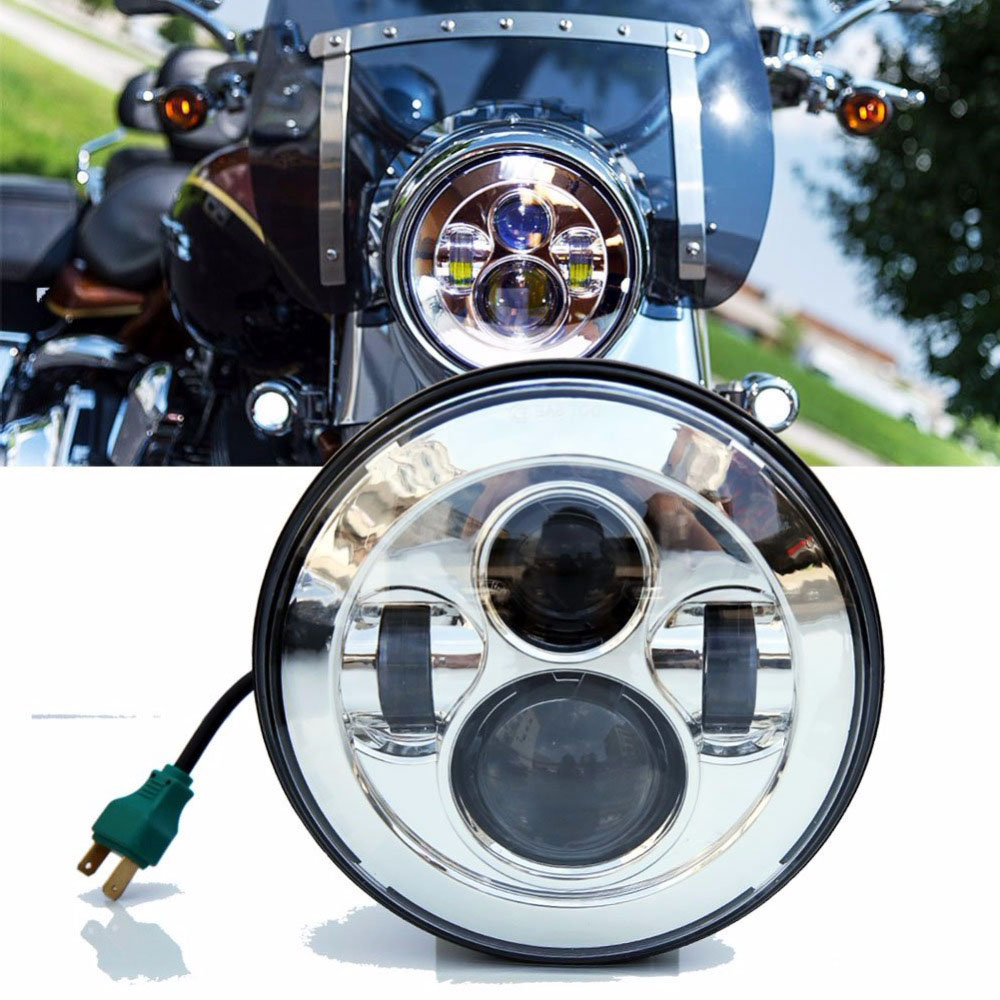 LED Projector Headlight Motorcycle Round 7 inch Headlight Motorcycle H4 High Low Beam Softail Models E039