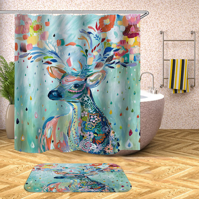 Elk Print Shower Curtain Deer Wapiti Moose Waterproof Bath Curtains For Bathroom Bathtub Bathing Cover Large