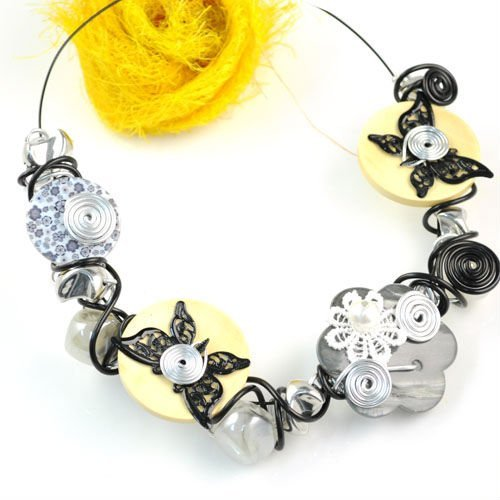 Rural floral handmade beaded collar choker necklaces for women ,nl-1307