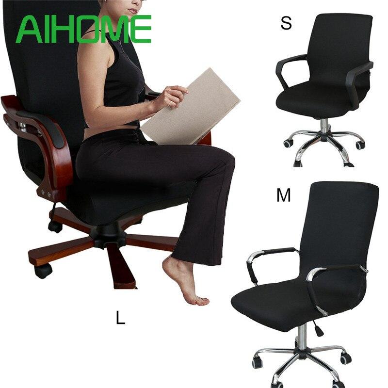 Moderne Spandex Chaise D'ordinateur Couverture 100% Polyester Élastique Tissu Chaise de Bureau Couverture 4 Couleurs 3 Taille Facile Lavable Amovible