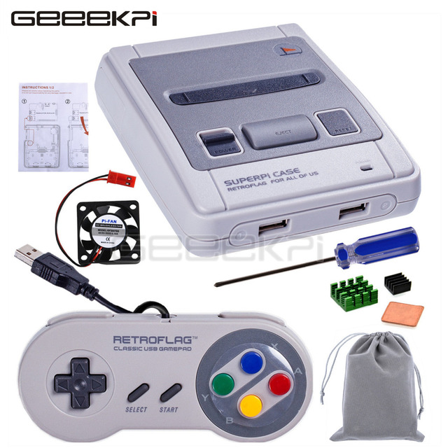 Auf Lager! GeeekPi Original Retroflag SUPERPi CASE-J NESPi Fall mit Optional Spiel Controller für Raspberry Pi 3B Plus (3B +) /3B