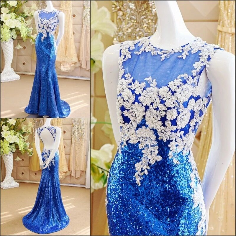 Blue Sexy Mermaid Sequin Tulle Lace Crystal Beaded Stones Luxury 2019 New Evening Dress Party Gowns