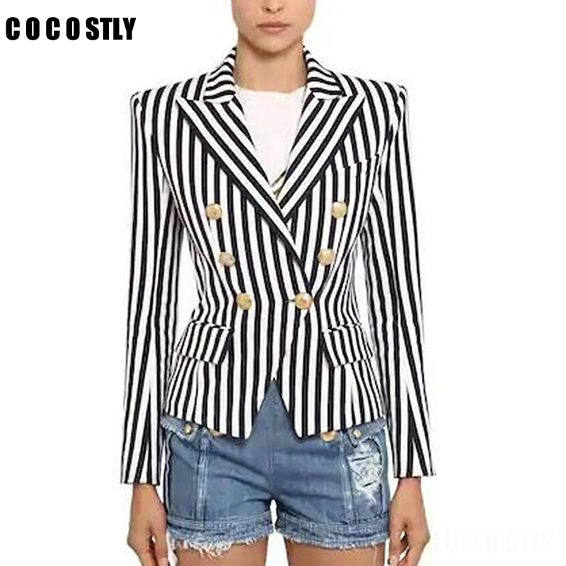 2019 Designer Blazer Women's Long Sleeve Double Breasted Metal Lion Buttons Striped Women Blazers And Jackets Outer Blazer Femme