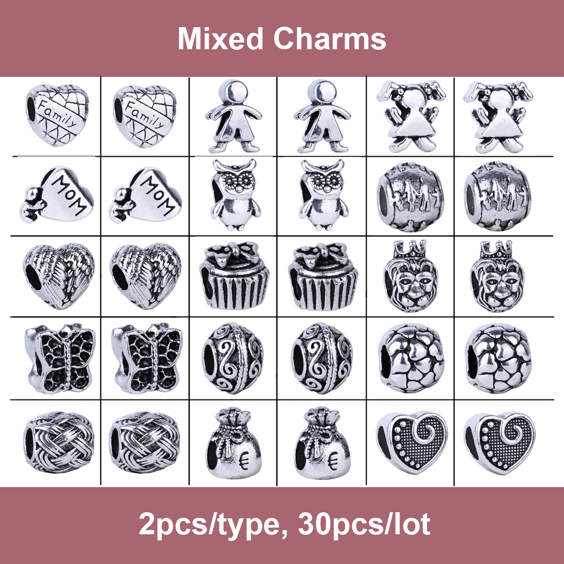 2016 New 30pcs Mix Style Silver Heart Feathers Wings Mom Owl Family Boy  Girl Charms Beads Fit Pandora Bracelet Diy Women Jewelry