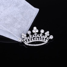 St.kunkka Crown Brooch Silver Plated Crystal Rhinestone Brooches For Women  Flower Pins Bouquet Wedding