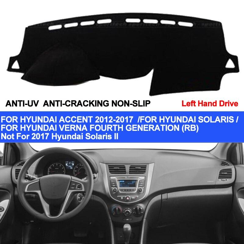 TAIJS Araba Dashboard Kapak Için Hyundai Accent Verna 2012 2013 2014 2015 2016 2017 Solaris Dash Mat Pad Halı Anti-UV kaymaz