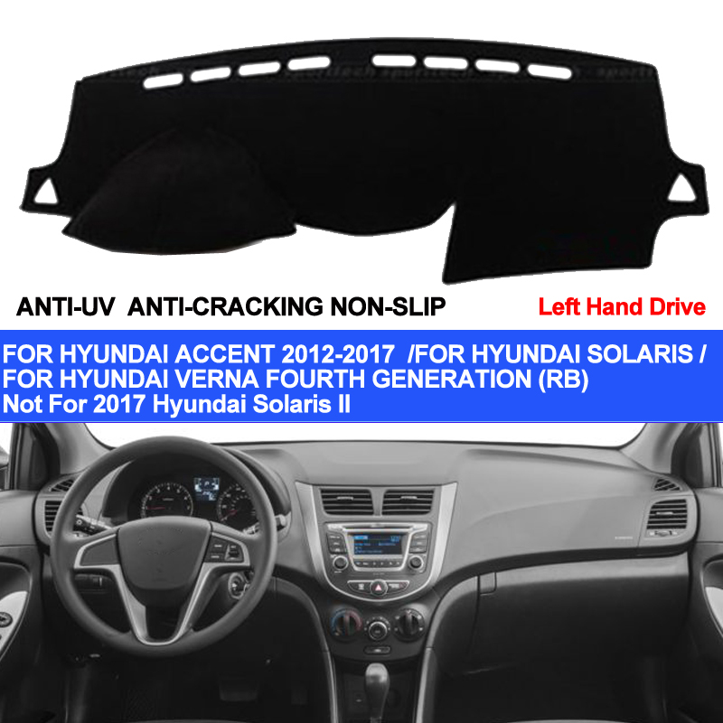 TAIJS Car Dashboard Cover For Hyundai Accent Verna 2012 2013 2014 2015 2016 2017 Solaris Dash Mat Pad Carpet Anti-UV Anti-slip