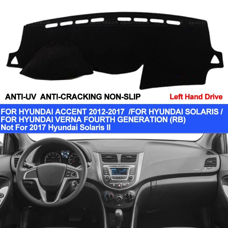 TAIJS Car Dashboard Cover For Hyundai Accent Verna 2012 2013 2014 2015 2016 2017 Solaris Dash Mat Pad Carpet Anti-UV Anti-slip