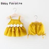 Favorito do bebê Meninas Floral Stripe Roupa Do Bebê Conjuntos de Verão Primavera Top e Calça Daisy Bebê Recém-nascido Roupas 0-24 M bebek