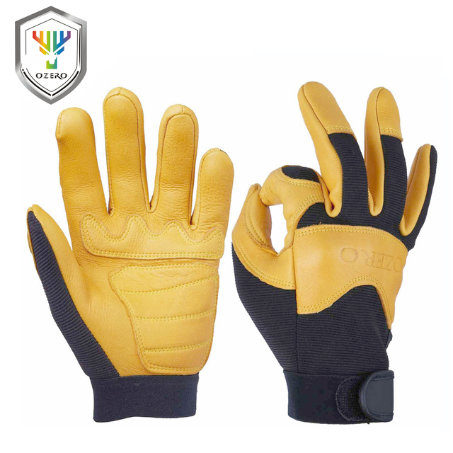 OZERO Mens Work Gloves Deerskin Leather Driver Security Protection Wear Safety Workers Working Racing Moto Gloves For Men 8003