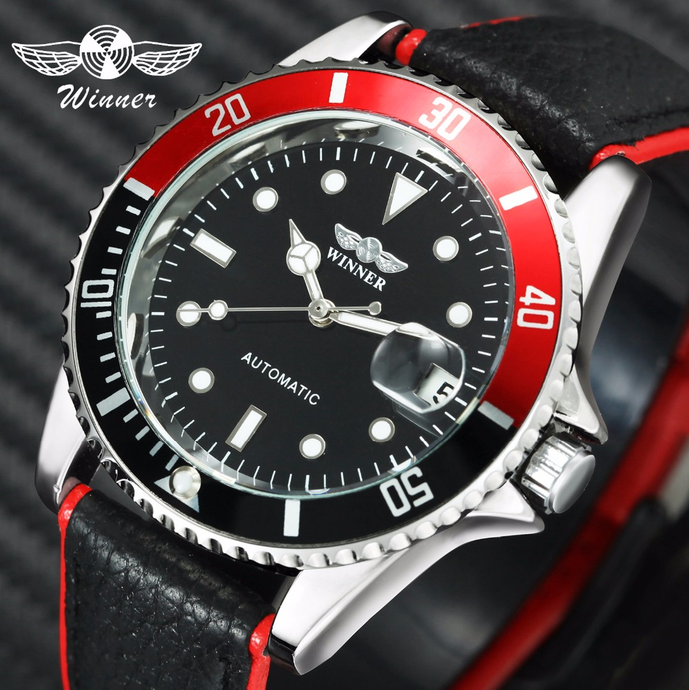 WINNER Classic Mens Watches Top Brand Luxury Automatic Mechanical Contrast Color Genuine Leather Strap Calendar Wrist Watch Men