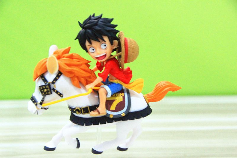 12CM pvc Japanese anime figure ONE PIECE Monkey D. Luffy riding horse chrismas action figure collectible model toys for boy