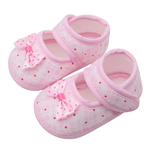 Cotton Bé Gái Giày Trẻ Sơ Sinh Đầu Tiên Xe Tập Đi Cho Bé Gái Kid Nơ Mềm Chống Trượt Cũi Giày 0-18 tháng