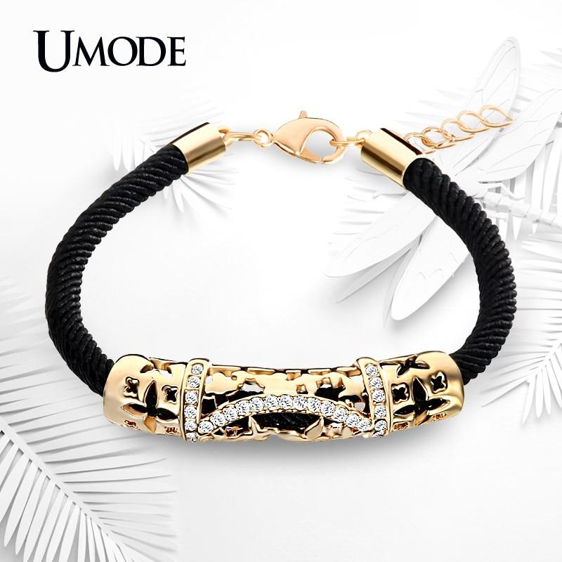 UMODE Brand Unique Filigree Rope Chain Bracelet With Gold Color Austrian Rhinestones Charm Bracelets For Women Jewelry AUB0072
