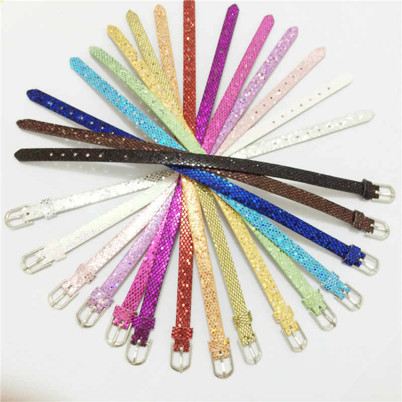 Sales 8MM PU Leather Paillette Wristband Bracelets Mixed Color DIY Accessory Fit 8MM Slide Charms WB14