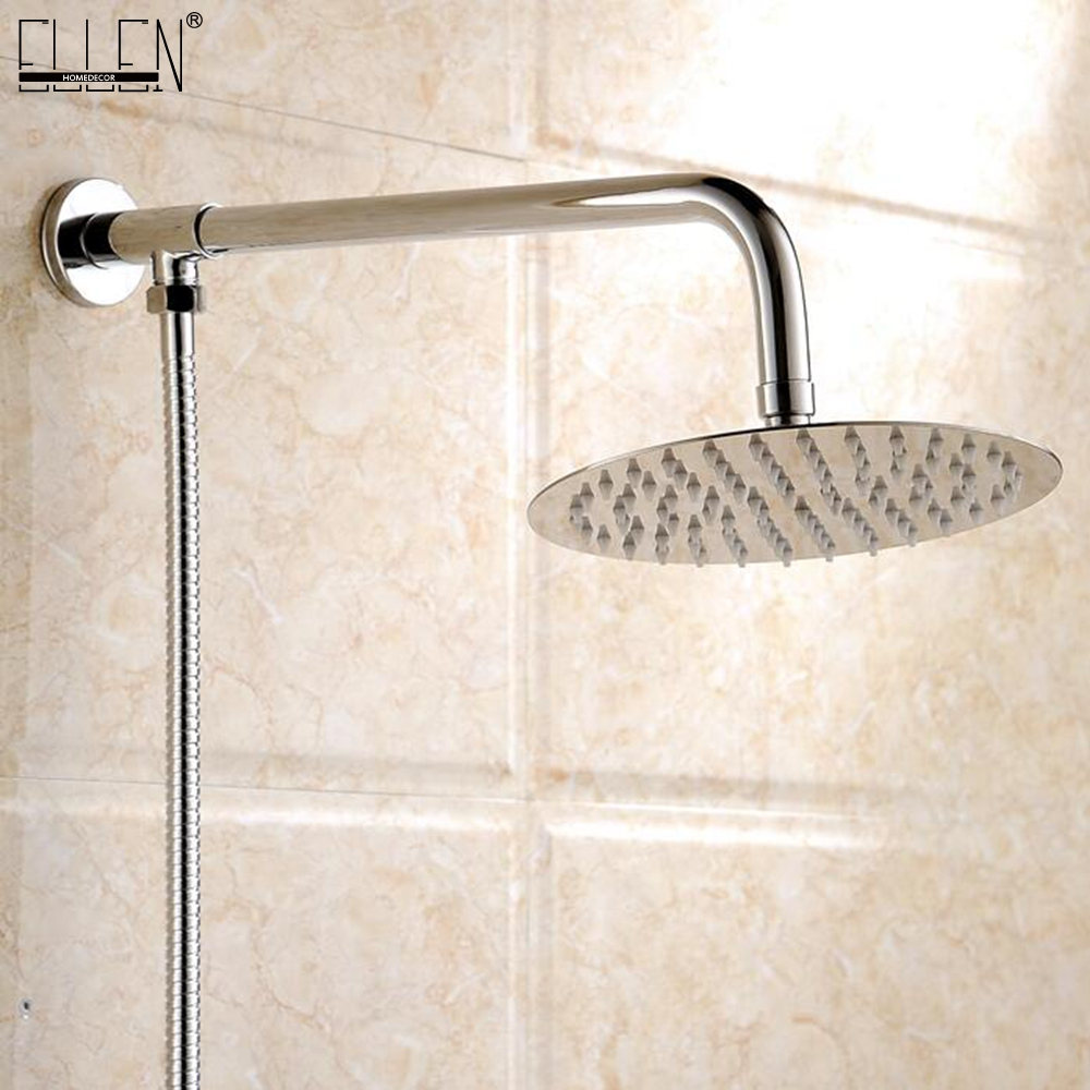 Wall Mounted Bathroom Shower Arm with Shower Round Shower Head Stainless Steel Chrome Finished