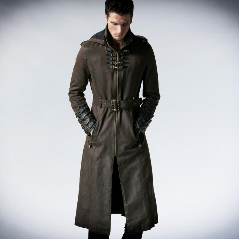 Панк Rave Для мужчин s куртки и пальто твил длинное пальто куртка в стиле панк модные красивые с капюшоном Для мужчин куртка одежда уличная вет...