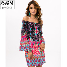 plus size Summer Boho Beach tunic font b dress b font women 2017 Off Shoulder runway