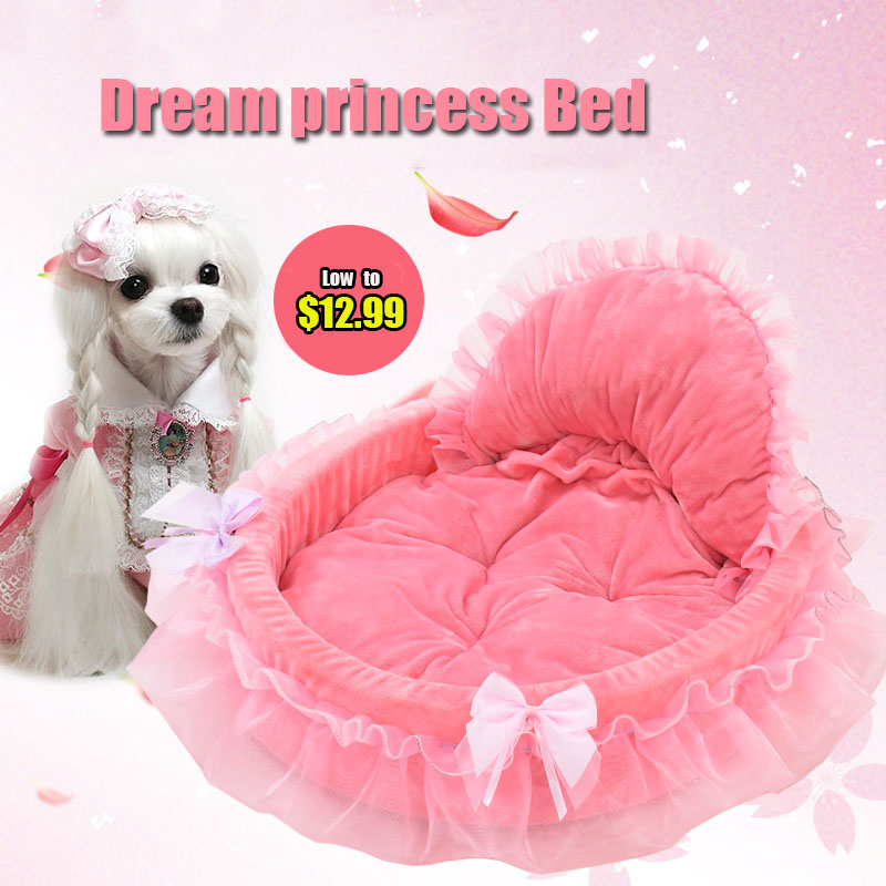 2016 Cute Lace Princess Dog Basket Bed Cat Puppy Pet Beds Pet Dream Nest Pet Kennel Cat Dog Beds Luxury Cat Sofa Dog Bed Bichon