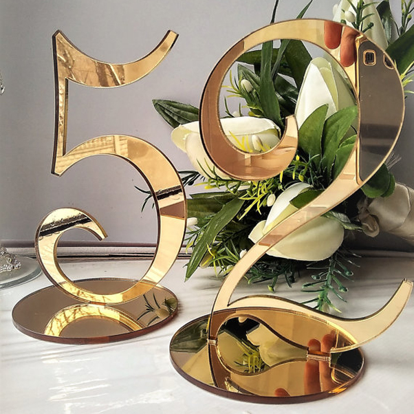 Table Numbers for Wedding Party or Event, Gold or Silver Acrylic Wedding Decor for Wedding Table Numbers, Wedding Sign Centerpi