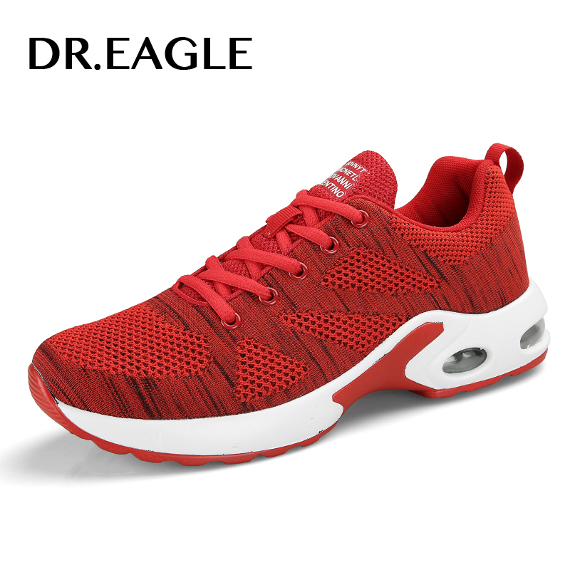 DR.EAGLE Mens Running Shoes For Outdoor Comfortable red black fly For Men Sneakers Air Cushioning Sport Shoes woman Size 35-44 sneakers men sport running shoes for man 2017 summer spring comfortable cushioning sneaker black gray red white flat walking